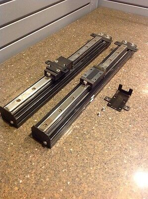 "matched pair linear guides 20"" long thk sr25 bearing blocks on alum mount"