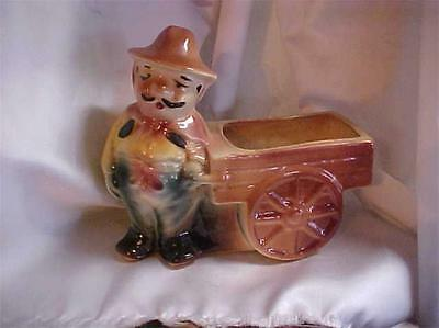 Vintage Glazed Ceramic Old Man Wagon Planter