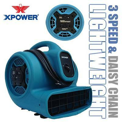 XPOWER X-400A 1/4 HP Air Mover Carpet Dryer Floor Fan Blower w/ Build-in Outlets