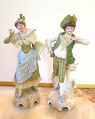 """Beautiful Bisque Porcelain Man Woman Figurines 12 3/4"""" Clothing 1700's Style"""