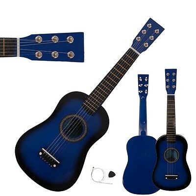 "New 23"" 15 Frets Plywood Toy 6 Strings Practice Children's Acoustic Guitar Blue"