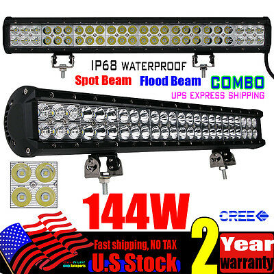 22Inch 144W DOU ROW CREE LED LIGHT BARS WORK DRIVING OFFROAD 4WD BAR VS 180W