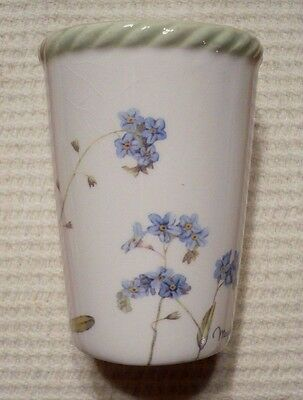 Marjolein Bastin BUTTERFLY and BLUE FLOWERS porcelain candle holder. New w/o tag
