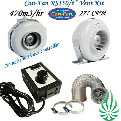 "6"" Inline Duct Fan with Aluminum Ducting Fan Speed Controller Ventilation kit"