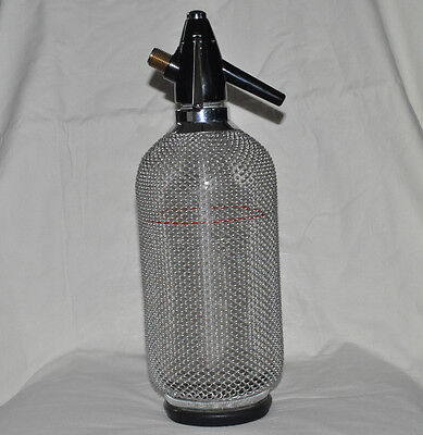 Antique Soda Siphon Seltzer Bottle Metal Wire Mesh Glass Vtg Syphon Spritzer