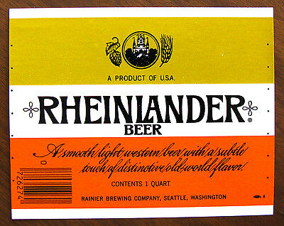 Rainier Brewing  RHEINLANDER BEER label WA 32oz  Var. #2