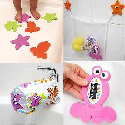 Emmay Care Child Kid Baby Safety Tidy BATH SET - Mat Bag Spout Cover Thermometer