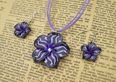 FREE 1set polymer clay FIMO flower Silk chain necklace+earrin​gs Gift or Award