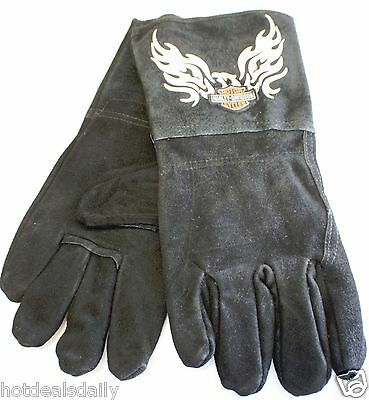 Harley Davidson Wood Stove Fireplace Welding Gloves Motorcycle Flames Black Eagl