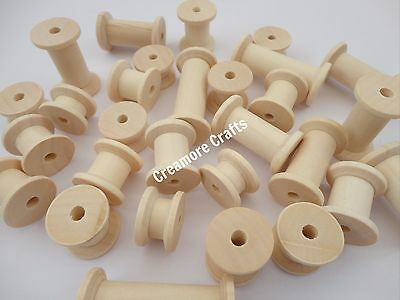 60 Natural Wooden Spools Wood Bobbins Craft Sewing Threading Puppet Toy Wheels