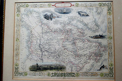 ANTIQUE MAP of BRITISH AMERICA c 1851 - JOHN TALLIS - J. RAPKIN - CANADA