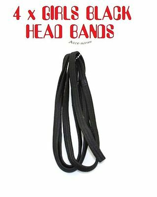 4 x Black Colour Girls Head Bands Hairbands Elastic Headbands Black Hair Band