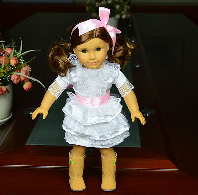 "Doll Clothes fits 18"" American Girl Handmade White  Party Dress"