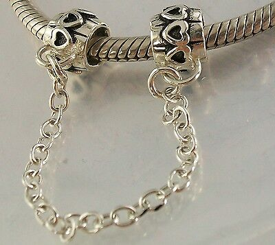 925 STERLING SILVER Love Hearts European SCREW ON SAFETY CHAIN CHARM oxidised