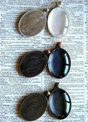 10 x Oval Pendant Settings kit includes Trays and matching glasses 30X40mm