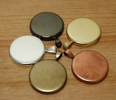 10 x 25mm Round Pendant Blank Tray Trays Circle with smooth back for cabochon