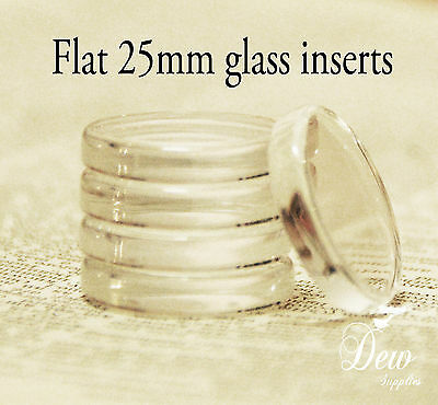 10 x 25mm (1 inch) Round Flat Glass Drops Fits 1 inch or 25mm pendant trays