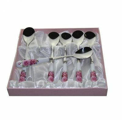 Fine Bone China Pink Rose Spoons