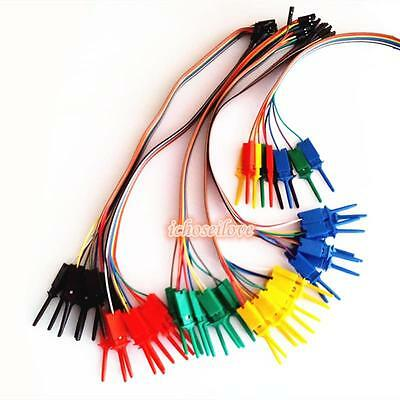 New Logic Analyzer Cable Probe Test SMT IC Hook Clip Line 10 channels colors