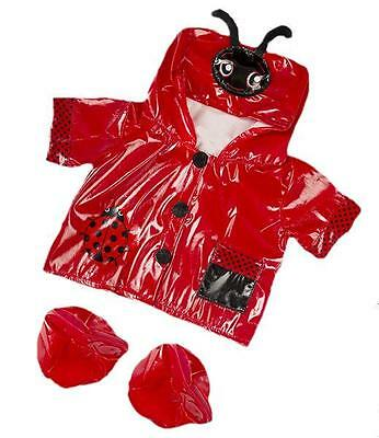 """Red Ladybird Lovely Raincoat Coat With Boots  Fits 15""""-16"""" (40Cm)Build A Bear"""