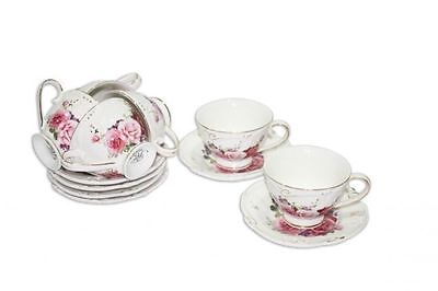 Fine Bone China 6 Cups and Saucers Espresso Set 90ml