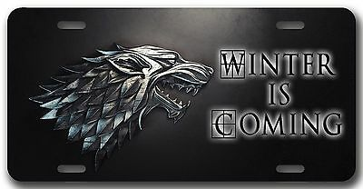 L@@K! House of Stark Winter is Coming License Plate - Game of Thrones