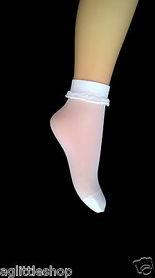 5 pairs of Girls WHITE ANKLE SOCKS with WHITE FLOUNCE, 20 denier, age: 4-7 yrs .