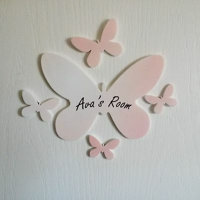 Personalised Colour Butterfly Door Name Plaque Boy or Girls Bedroom Room Sign
