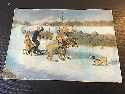 Vintage Boy's On Sled With A Cow And A Dog Trying To Pull It