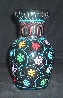 CLASSIC ITALIAN POTTERY HAND PAINTED MAJOLICA FLOWER VASE COLORFUL & BRIGHT