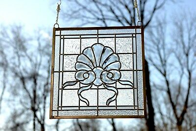 "Handcrafted stained glass Clear Beveled window panel,16.75"" x16.5"""