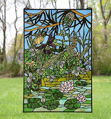"24"" x 36"" Lotus Lily Pond Flower Tiffany Style stained glass window panel"