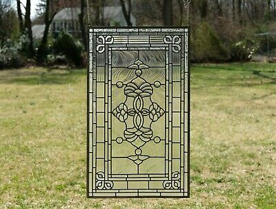 "Stunning Tiffany Style stained glass Clear Beveled window panel, 20.5"" x 34.5"""