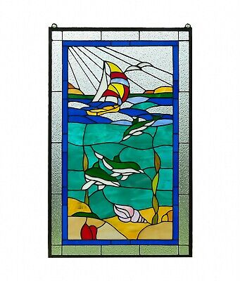 "20"" x 34"" Dolphin Boat Shell Seashore Tiffany Style stained glass window panel"
