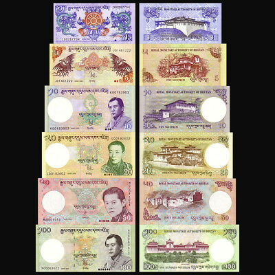 Set of 6Pcs Banknotes,Bhutan 1+5+10+20+50+100 Ngultru Paper Money Uncirculated