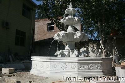 Hand Carved Estate Marble 3 Tier Equestrian Horse And Lion Fountain - Hr001