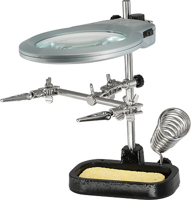 Helping Hand W/ Led Magnifier With Solder Iron Stand Light