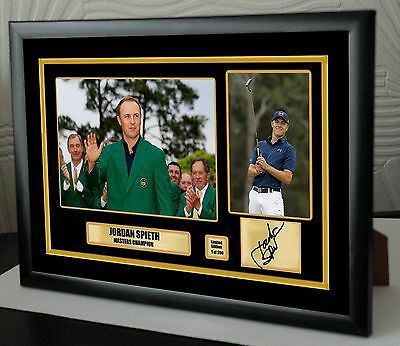 """Jordan Spieth The Masters Golf Framed Canvas Tribute Print Signed """"Great Gift"""""""