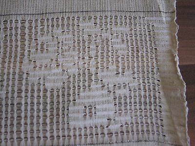 Vintage Hand Woven Linen Towel with lace Mettalic Threads