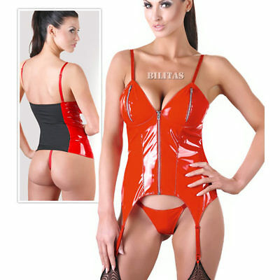 "Lack Strapshemd Rot Straps Set dessous Wetlook Reizwäsche S M L XL XXL ""Nancy"""
