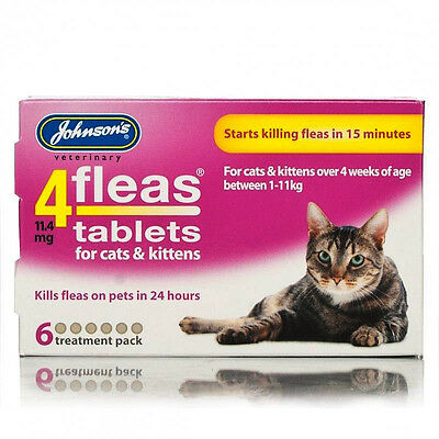 Johnsons 4fleas Tablets For Cat & Kitten Starts Killing Fleas in 15min 6 tablets