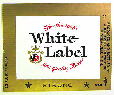 White Label Brewing WHITE LABEL STRONG beer label MN 12oz