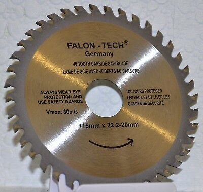 115mm Angle Grinder saw blade for wood and plastic 40 TCT Teeth UK.