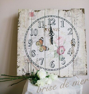 Large Vintage French Shabby Chic Floral Rose Butterfly Art Print Wooden Clock