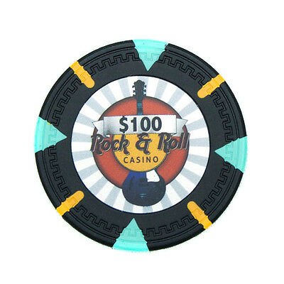 50 Black $100 Rock & Roll 13.5g Clay Poker Chips New - Buy 2, Get 1 Free
