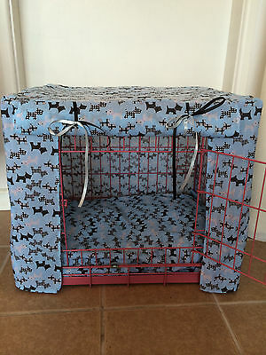 Blue / Pink / Red Scottie Puppy / Dog Crate Cover / Made To Order / Xs