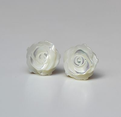 Sterling Silver 925 White Mother of Pearl Rose Flower Studs Earrings