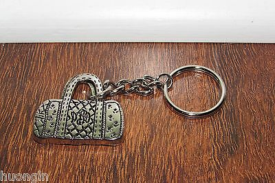 Vera Bradley SIGNATURE SILVER/METAL Handbag Purse KEYCHAIN Key Backpack Charm