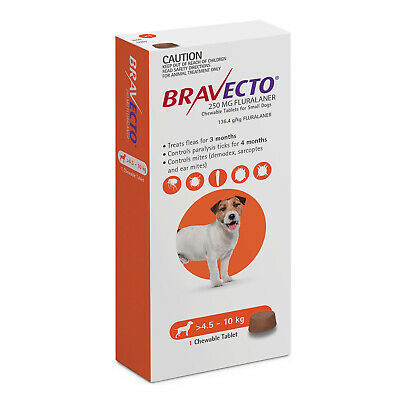 Bravecto Small Dog Orange 4.5-10kg Single Chew Flea & Tick Control
