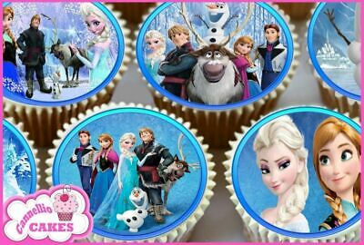 24 x FROZEN CUMPLEAÑOS TOPPERS COMESTIBLES PARA CUPCAKE TARTA